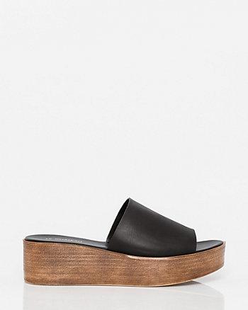 Italian Designed Leather Slide Wedge