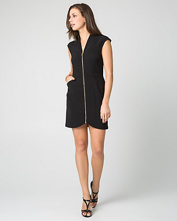 Woven V-Neck Mini Dress
