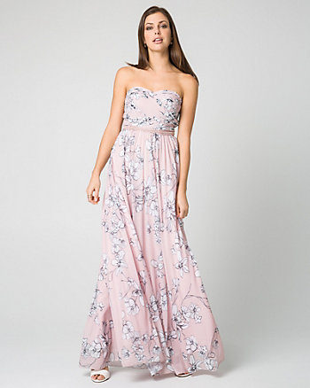 Floral Print Mesh Sweetheart Gown