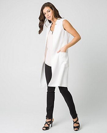 Woven Inverted Collar Long Vest