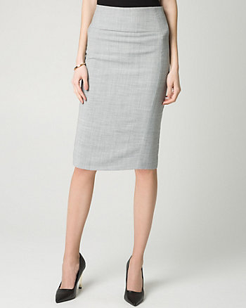 Crosshatch Stretch Viscose Blend Skirt