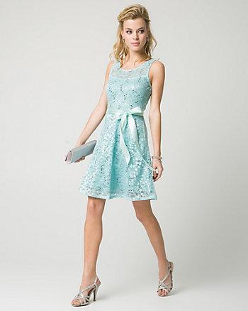 Lace & Sequin Illusion Party Dress