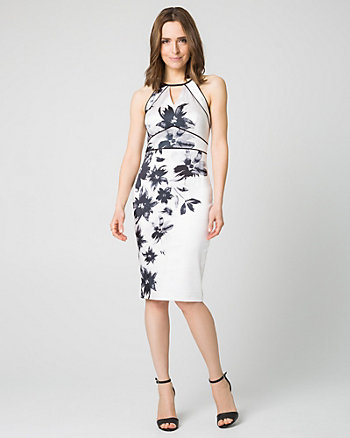 Floral Print Satin Halter Shift Dress