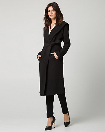 Double Weave Hooded Wrap Coat