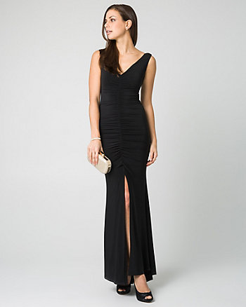 Knit V-Neck Pleated Gown