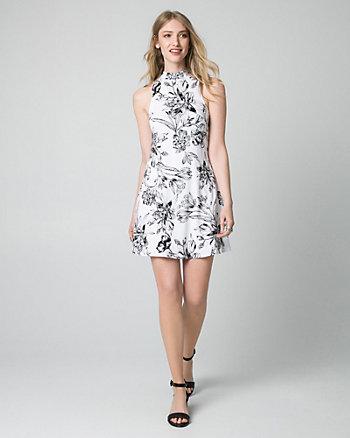 Floral Print Jersey Mock Neck Mini Dress