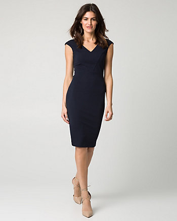 Knit Crêpe V-Neck Shift Dress