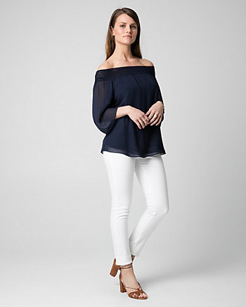 Chiffon Off-the-Shoulder Blouse