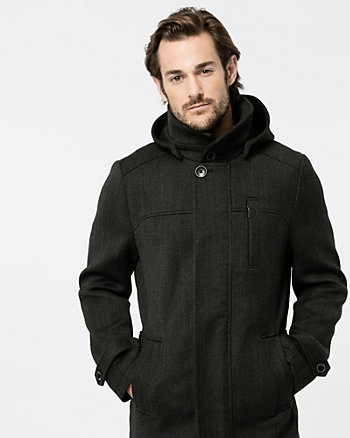 Textured Wool Twill Car Coat