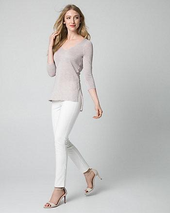 Metallic Knit V-Neck Sweater