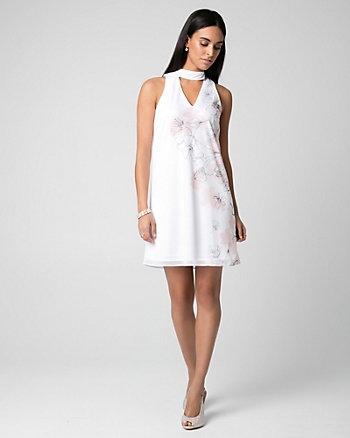 Floral Print Crêpe Chiffon Cocktail Dress