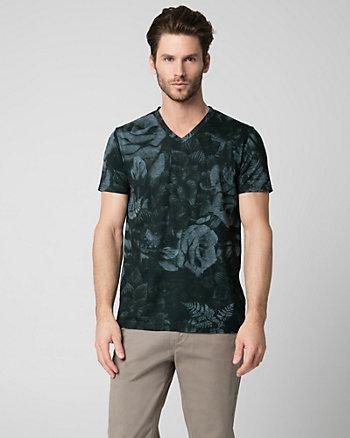 Floral Print Cotton Blend V-Neck Top