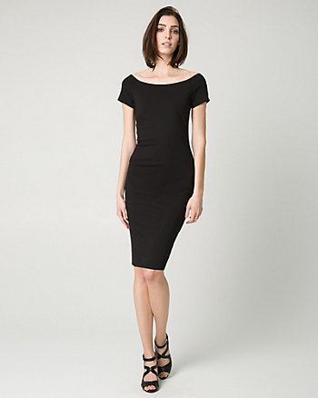 Ponte Off-the-Shoulder Shift Dress