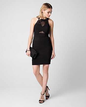 Ottoman Knit Illusion Cocktail Dress