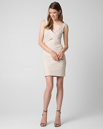 Sparkle Ottoman Knit V-Neck Banded Dress