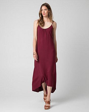 Challis Scoop Neck High-Low Dress