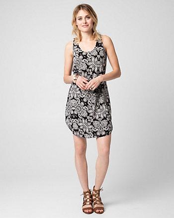 Printed Challis Scoop Neck Tunic Dress