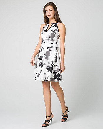 Floral Print Scuba Halter Neck Dress