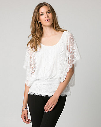 Lace Scoop Neck Poncho Top