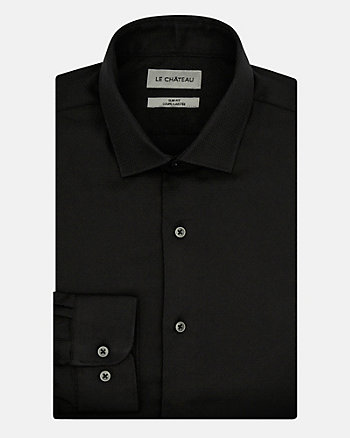 Tonal Cotton Sateen Slim Fit Shirt