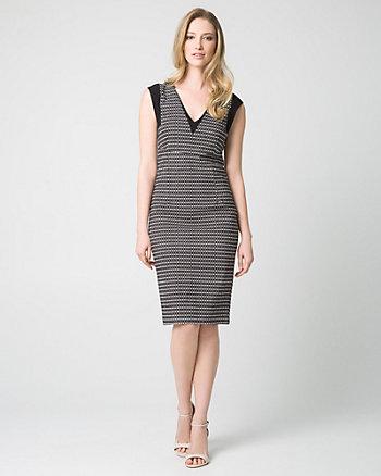 Geo Print Tech Stretch V-Neck Shift Dress