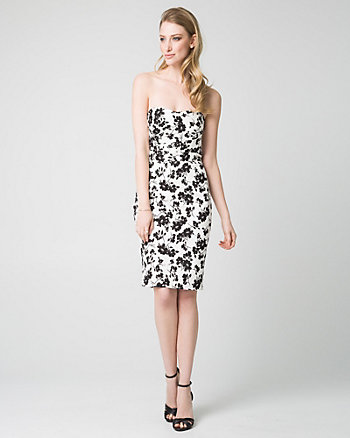 Floral Print Jacquard Sweetheart Dress