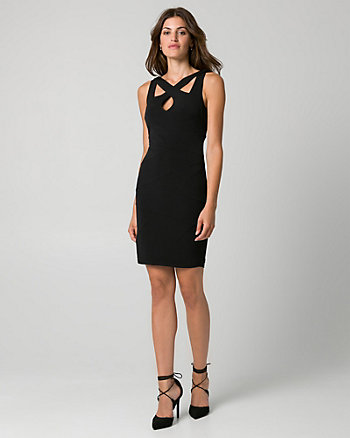 Knit Cutout Neck Banded Dress