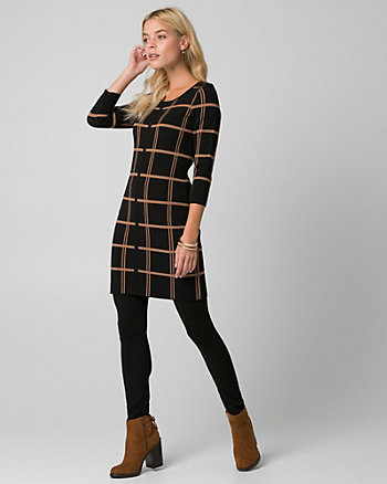 Check Print Scoop Neck Tunic Sweater