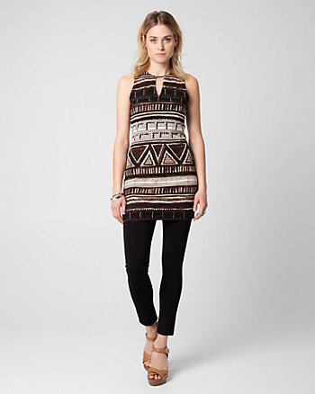 Tribal Print Lace Crew Neck Tunic Top