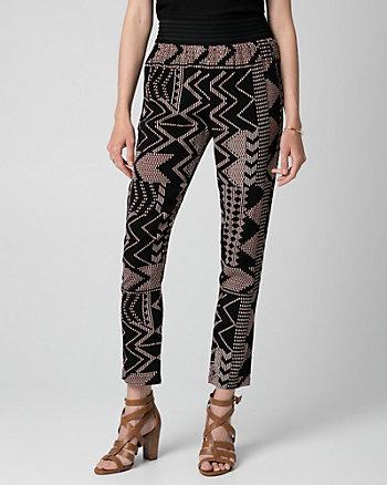 Tribal Print Viscose Crêpe Slim Leg Pant