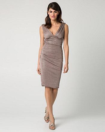 Sparkle Knit V-Neck Cocktail Dress