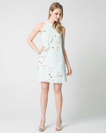 Floral Print Chiffon Convertible Cocktail Dress