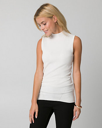 Viscose Blend Mock Neck Sweater Shell