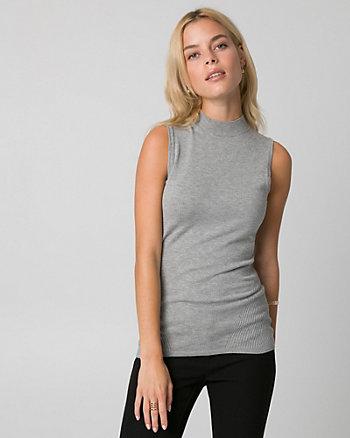 Viscose Blend Mock Neck Sweater Shell