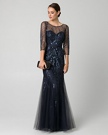 Embellished Tulle Illusion Gown