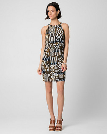 Abstract Print Crêpe Halter Dress