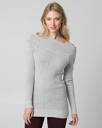 Bouclé Foldover Neck Tunic Sweater
