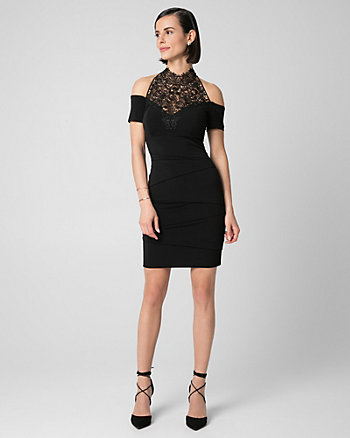 Knit Illusion Mock Neck Cocktail Dress