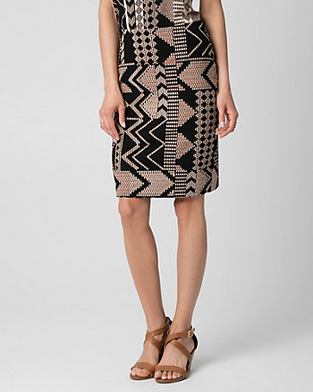 Tribal Print Crêpe-Like Knit Pencil Skirt