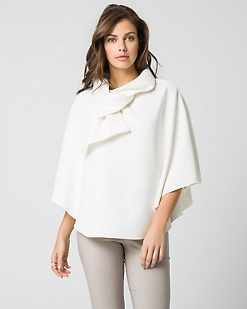 Double Weave Cowl Neck Poncho