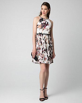 Floral Print Chiffon Halter Dress