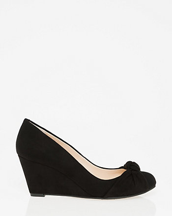 Suede Round Toe Wedge