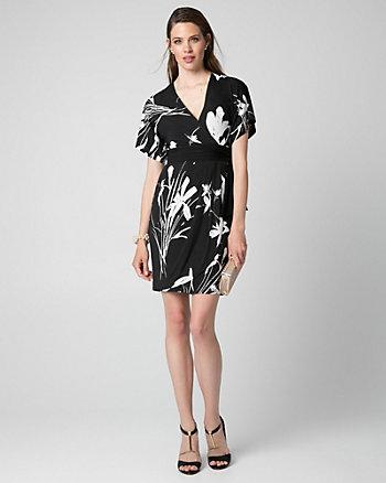 Floral Print Knit Kimono Dress