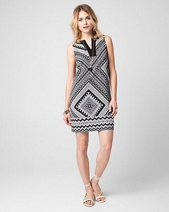 Scarf Print Crêpe V-Neck Tunic Dress