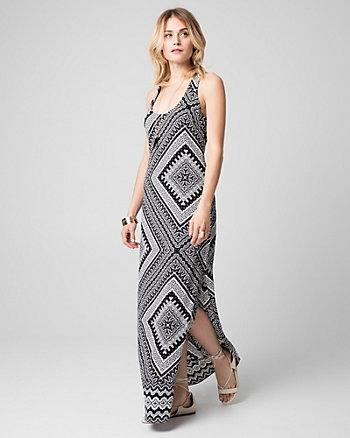 Scarf Print Crêpe Halter Maxi Dress