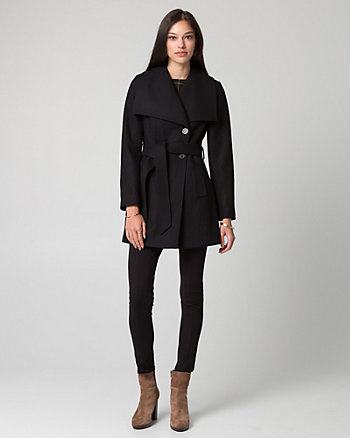 Melton Open Collar Belted Coat
