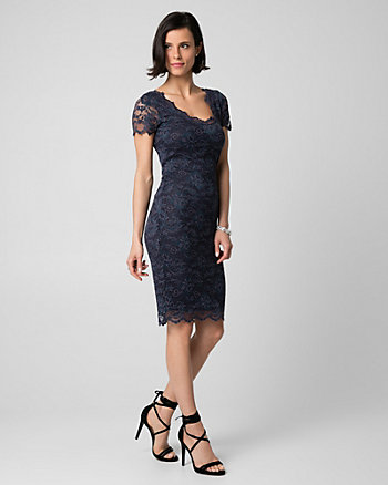 Corded Lace V-Neck Cocktail Dress