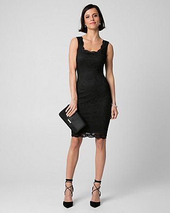 Lace Scoop Neck Cocktail Dress