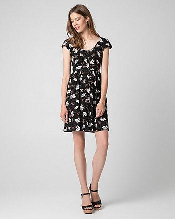 Ditsy Print Challis V-Neck Dress
