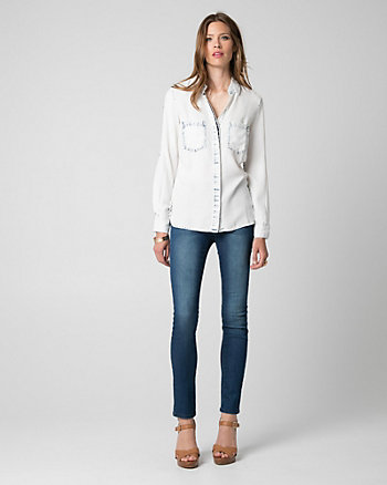 Lyocell Button-Front Blouse